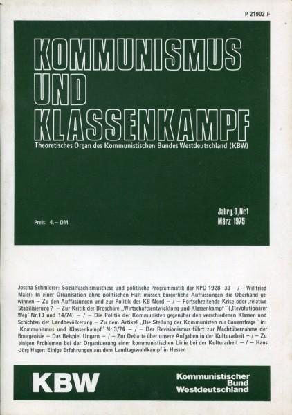 Kommunismus und Klassenkampf Jg.3/Nr.1