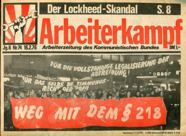 Arbeiterkampf Nr.74 (16.2.1976)
