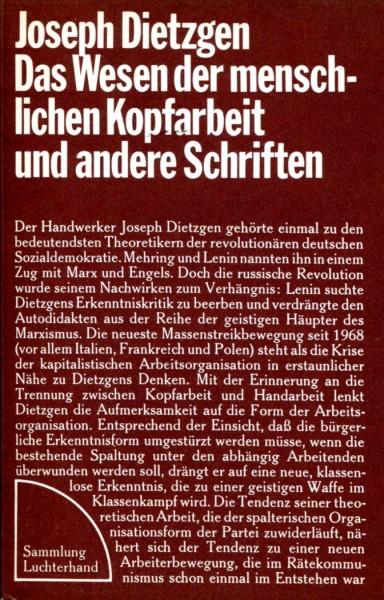Joseph Dietzgen: Das Wesen der menschlichen Kopfarbeit und andere Schriften