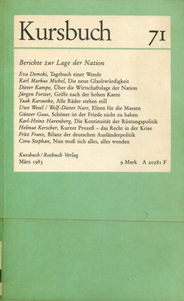 Kursbuch 71 - Berichte zur Lage der Nation